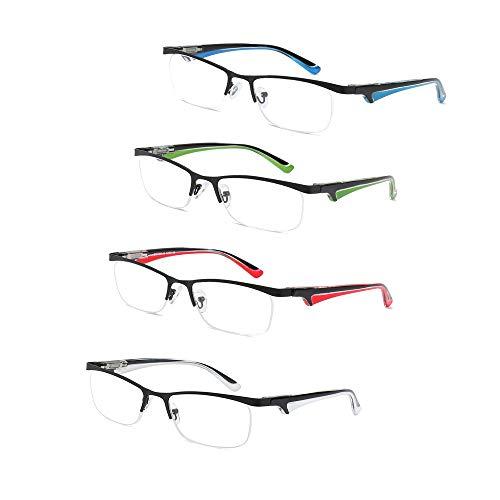 Leichte Lesebrille Damen Stilvolle Brille 4er Pack Halbrahmen Brillen Federscharnier Eyewear Stilvoller Look Clear Vision Rechteckige Linse Anti-Reflective,2.5