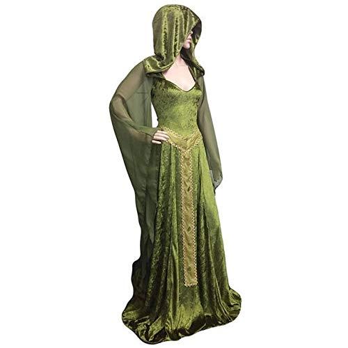 WSJDE Mittelalterliche Renaissance Maxi Zug Kleid Erwachsene Frauen Halloween Devil Pagan Hexe Hochzeit Kostüm Kapuze Robe für Damen grün XL grün