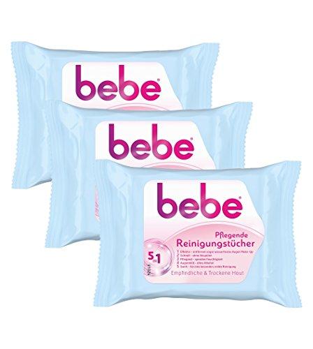 Bebe 5in1 Pflegende Reinigungstücher, Abschminktücher für empfindliche und trockene Haut, 3er Pack (3 x 25 Stück)