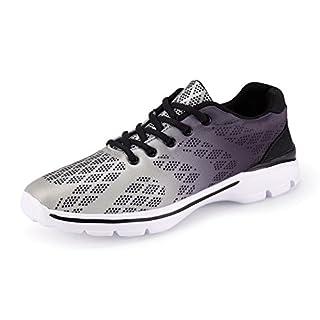 UMmaid Herren Laufschuhe Atmungsaktiv Gym Turnschuhe Freizeit Schnürer Sportschuhe Sneaker, Grau, 45 EU
