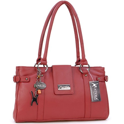 "Borsa in pelle a spalla di Catwalk Collection ""Martina"" - Rosso"