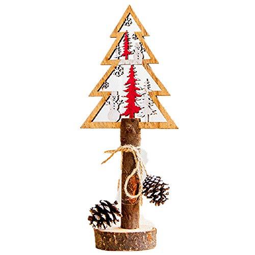 Sammoson decorazioni per la tavola di legno dipinte di natale dipinte a mano - albero di natale in legno, albero di natale 5c