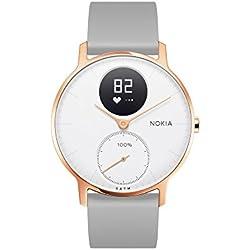Nokia health Steel HR Rose Gold Reloj Conectado, Unisex Adulto, Silicona Gris, 36mm