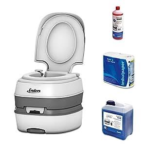 Wc chimico portatile per campeggio, starter set Blue 2,5 Enders Deluxe con liquido sanitario e carta igienica - water portatile, wc da campeggio, wc camper, bagno chimico