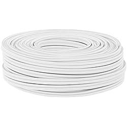 Câble d'enceinte en cuivre DCSk de 25m pour HiFi/Audio (Section de 2 x 1,5mm2), Câble Audio Blanc avec système d'Isolation