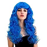 Ladies Bright Coloured Foxy Wig Curly Long with Fringe (Blue)