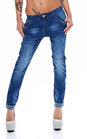 10681 Fashion4Young Damen Jeans Hose Boyfriend Haremsjeans Haremsstyle Röhre Damenjeans Risse (XS=34, Dunkelblau)