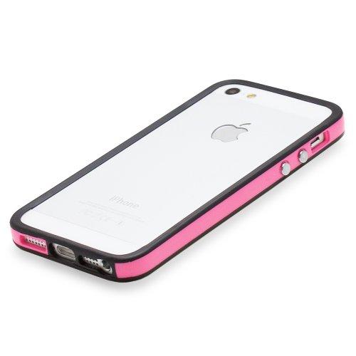 Fosmon BUFFER TPU Bumper Case Cover hülle für iPhone 5 / 5s / SE - Grey Edge / Weiß Center schwarz / rosa