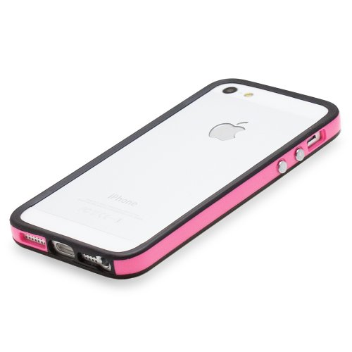 Fosmon BUFFER TPU Bumper Case Cover hülle für iPhone 5 / 5s / SE - Schwarz Edge / Rosa Center rose