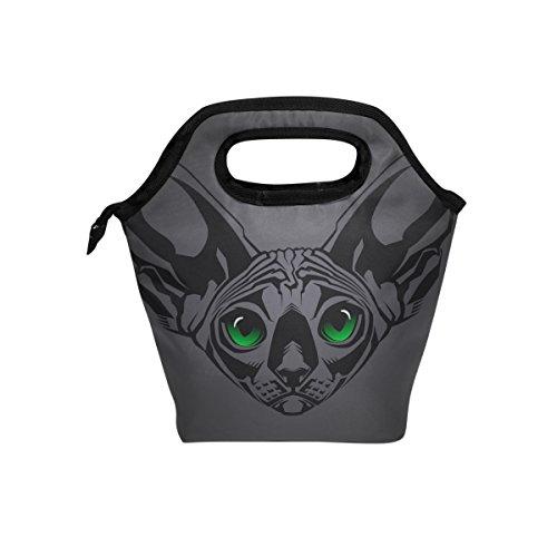 yibaihe Isolierte Lunch Tasche Tasche Sphynx-Katze Lunch-Boxen Handtasche mit Reißverschluss für Outdoor Picknick Frauen Kinder (Aluminium-lunch-boxen Für Kinder)