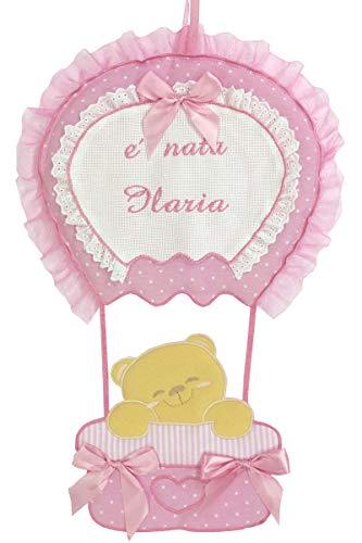 Fiocco nascita coccarda mongolfiera con tela aida personalizzato con il nome della tua bimba rosa lavorato del tutto a mano