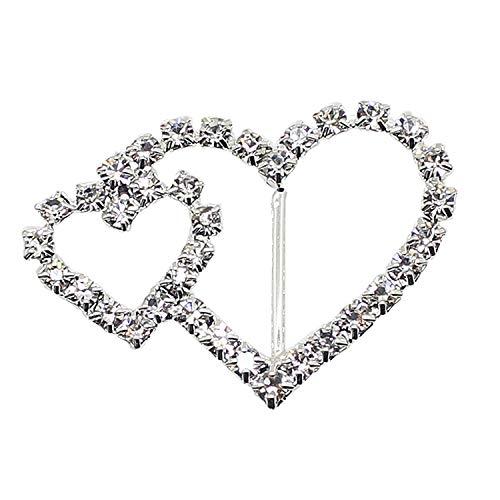 Zusammengefügte Herzen Kristall Strasssteine Diamant Schnalle Slider Verzierungen für Bänder Party Einladungen Hochzeit Karten oder Briefe Fashion Zubehör-40mm x 30mm (ca.)-149, farblos, Set of 25 Slider Card