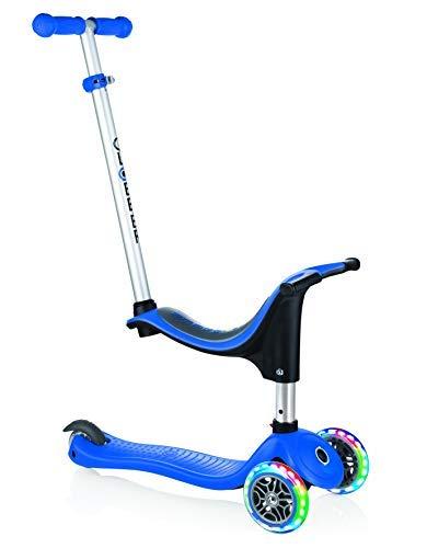 Globber Kinder EVO in mit Licht bis Rädern Scooter, Kinder, Evo 4-in-1 with Light Up Wheels, Marineblau (Razor Roller Kind)
