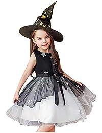 K-Youth Disfraz Halloween Vestidos Niña 3 a 10 años Tul Princesa Tutú Vestido de Niña Fiesta Kawaii Cosplay Ropa de Niñas Bruja Vestido Bebe Niña y Sombrero de Bruja