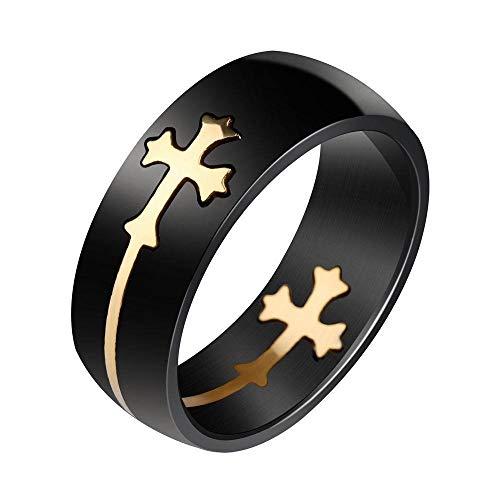 Persönlichkeit Kreative Abnehmbare Gold Kreuz Schwarz Ring Titan Stahl Herrenring