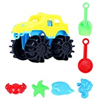 Kids Beach Toys,Ewendy 7Pcs Sand Water Tools Four-Wheel Drive Toy Car Kids Vehicle Simulation Model Toy Baby Car (B)