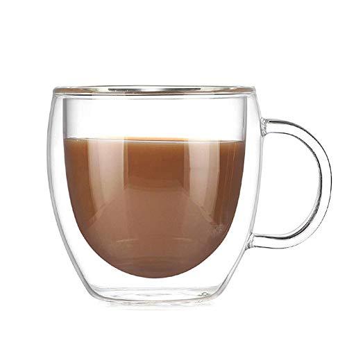 Tazze da caffè in vetro bistro bicchieri a doppia parete isolati per latte, cappuccino, espresso, trasparente, unico e coibentato con manico, set di 2, miglior regalo 7 oz