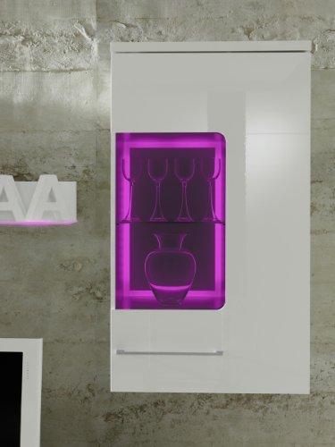 Wohnwand COLOGNE Anbauwand Weiß, Fronten Hochglanz,optional LED-Beleuchtung, Beleuchtung:mit Beleuchtung - 2