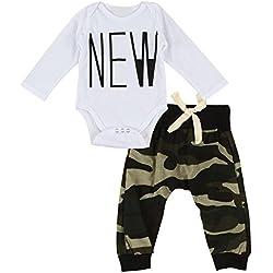 puseky bebé niños niñas manga larga Body y camuflaje pantalones ropa Set White+Camouflage Talla:0-6 meses