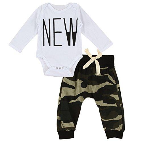 puseky Baby Jungen Mädchen Lange Ärmel Strampler & Camouflage Pants Kids Kleidung SET
