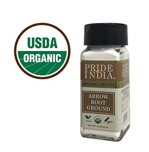 Pride Of India - Organic Arrowroot Ground Powder-1.8oz (51 gm) Dual Sifter Jar, Authentic Indian Vegan Flour, Best Added in Cakes Pies Sauce- BUY 1 GET 1 FREE(MIX AND MATCH- PROMO APPLIES AT CHECKOUT) Usa Bio-baby-body