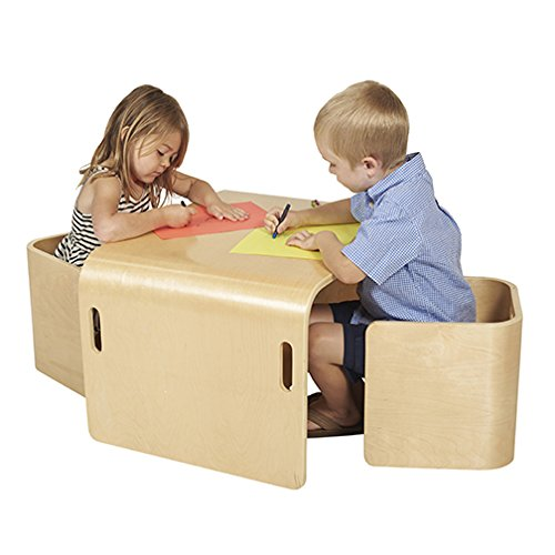 ECR4Kids Kinder Mehrzweck-Tisch- und Stuhl-Set, natürliches Bugholz, 3-teilig