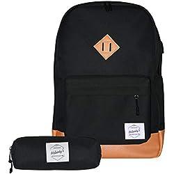 Helsinky's Mochilas Escolares Juveniles Mujer y Hombre - para Ordenador portátil – Set Casual niña y niño - Cargador USB - Regalo Estuche.