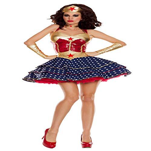 hhalibaba Deluxe Adult Wonder Woman Kostüm Sexy Super Hero Kostüm Halloween-Kostüme für Damen