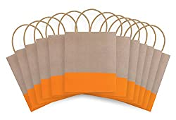 The Gift Wrap Company Dipped Recycled Kraft Paper Gift Bags (Pack of 12), Sunkiss, Orange