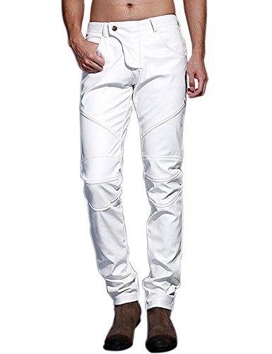 Leder Bootcut Jeans (Idopy Herren Schlanke Passform Party Performance Biker Faux Leder Jeans Hosen Pu-Hose)