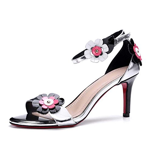Onfly Frau Mode Blumen Offener Zeh High Heels Fesselriemen Sandalen Stilett Pumpe Tanzen Schuhe Silver