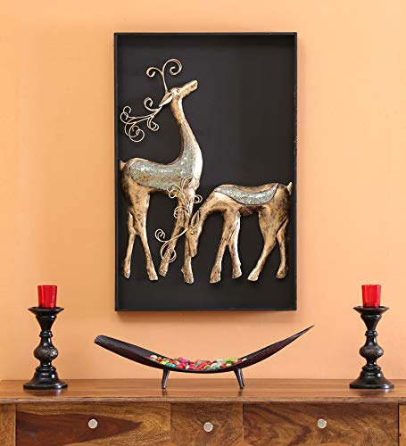 Collectible India Metal MDF 3D Panel Deer Wall Mounted and Hanging Art Decor Animal Feng Shui Sculpture for Home Living Room Bedroom(Size 32 x 22 Inch at amazon
