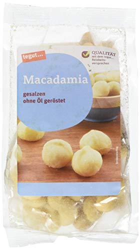 tegut… Macadamianüsse gesalzen und ohne Öl geröstet – Snack Nüsse – Packung 1 Pack 100g – reich an Mineralstoffen für Sport Party