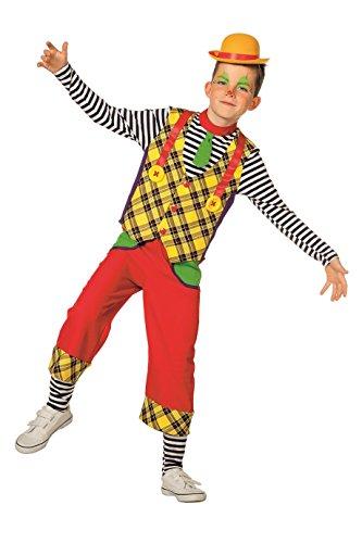 The Fantasy Tailors Clown-Kostüm Kinder Jungen Oberteil und Hose kariert Regenbogen Karneval Fasching Hochwertige Verkleidung Größe 152 (Karierte Hose Kostüm)