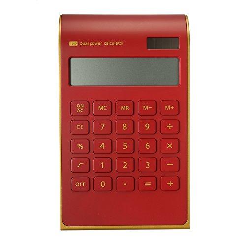 Caveen Taschenrechner Standard Business Tischrechner Schwarz/Weiß Dual-Power (Solar und Batterie) Rot