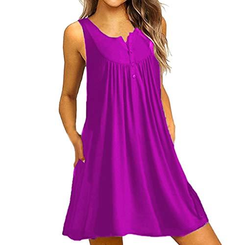 B-commerce Frauen Button Sleeveless T-Shirt Kleider - Sommer O Neck Lässig Über dem Knie Kleid Lose Party Minikleid Plissee Flauschiges Strand Casual Damen ()