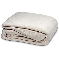 Burrito Blanco Sábana Bajera Ajustable de Coralina para Cama Individual de 105x190 cm hasta 105x200 cm, Color Beige