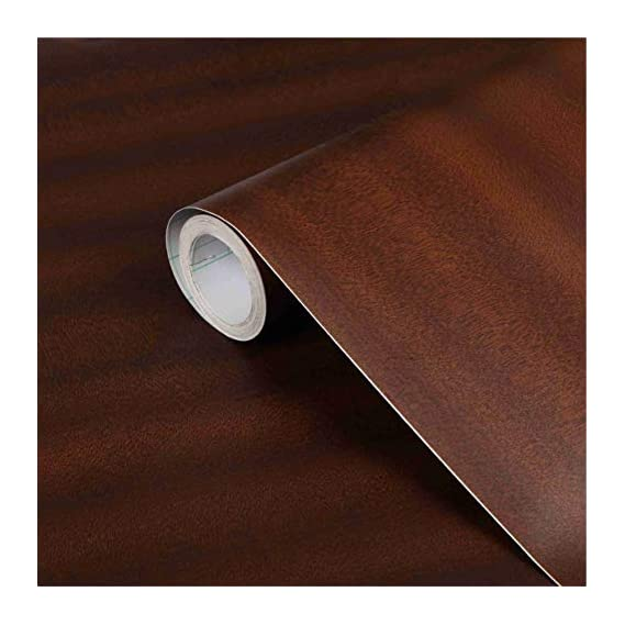 CVANU? Self Adhesive Wood Grain Wallpaper Waterproof Old Furniture Vinyl Stickers Wooden Door Wardrobe Desktop PVC Wall Papers Cv155 24''x100''inch