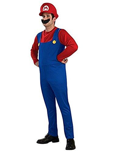 uper Mario Kostüm Klassische Brüder Jungen Halloween Kind Erwachsene Cosplay Kostüm Adult Free Size ()