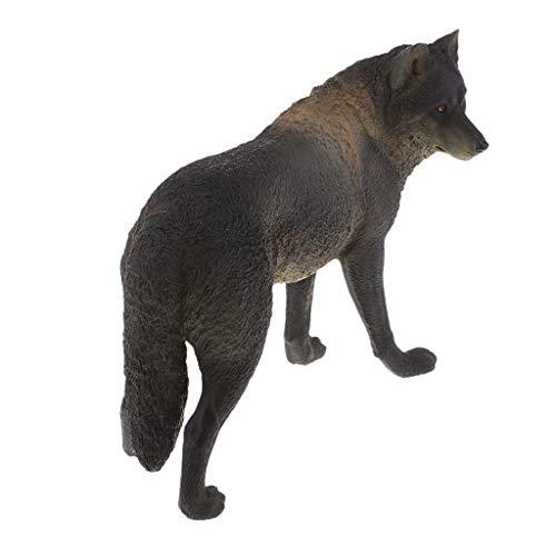 F Fityle Wild Tierfiguren Tiermodell Wildtier Gartenfigur Gartendeko mit Wolf Figur, aus Plastik - Schwarz