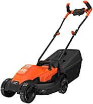 Black+Decker 1200W 32cm Lawn Mower with Bike Handle for Lawn & Garden, Orange/Black - BEMW451BH-GB, 2 Year