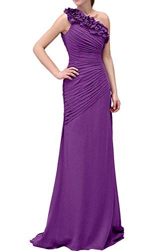 Missdressy Elegant Romantisch Etui Lang Ein-Schulter Chiffon Partykleider Abendkleider Brautmutterkleider Lilac