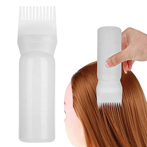 Bottiglia per capelli - Shampoo Applicatore per pettine per tinture per capelli - Strumenti essenziali per tinture per capelli - Applicatore per pettine per radici(bianca)