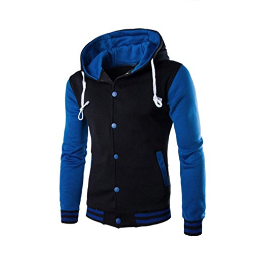 Herbst Winter Kapuzenmantel Herren, DoraMe Männer Lange Ärmel Hoodie Winterjacke Warmen Patchwork Kapuzen Pullover Knopf Mantel Outwear (Blau, L)