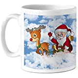 TIED RIBBONS Santa Deer Printed Coffee Mug(320 ml) Christmas Gift Set for Friend, Sisters, Family and Office, House Decoration