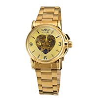 Winner Luxury Women Automatic Mechanical Gold Watch Unique Heart Shaped Hollow Dial Stainless Steel Strap (Full Gold)