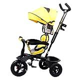 SSLC Trike Dreirad Fahrrad Baby Dreirad 4 in 1 Kinderdreirad Flüsterleise Rad Abnehmbarer Sonnendach lenkbarer Schubstange verstellbare Fußablage Dreirad für Kinder Belastbarkeit bis 30 kg, Yellow