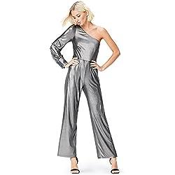 find. Foiled Rib One Shoulder, Combinaison Manche longue et asymétrique Femme, Argenté (Silver), 36 (Taille fabricant: X-Small)