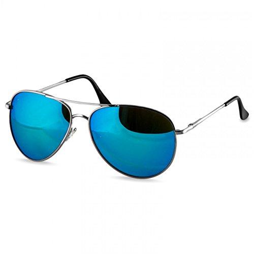 Caspar SG013 klassische Unisex Retro Piloten Sonnenbrille, Farbe:silber/hellblau verspiegelt