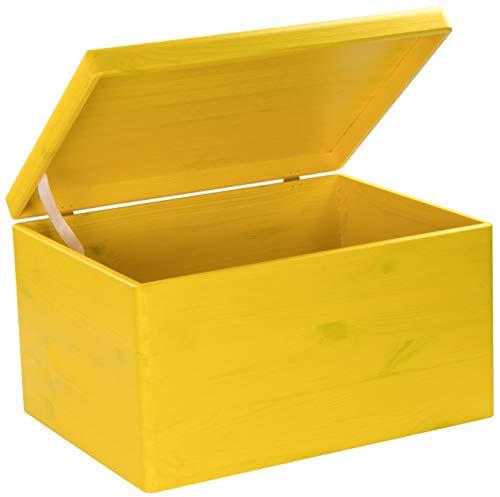 LAUBLUST Caja de Madera con Tapa, 40 x 30 x 24 cm, Color Amarillo, FSC®, Multiusos, de Madera, Caja de Almacenamiento y baúl para Juguetes